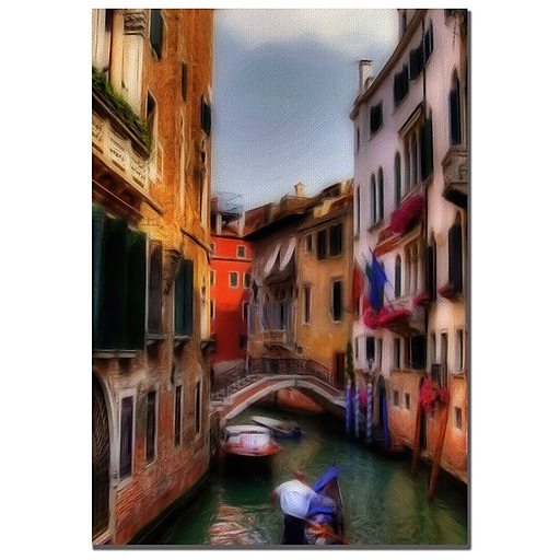 Trademark Fine Art Lois Bryan 'Venetian Canal' Canvas Art 24x32 Inches