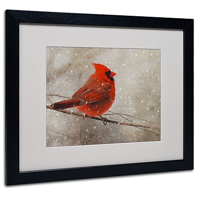 Lois Bryan 'Cardinal In Winter' Matted Framed Art - 11x14 Inches - Wood Frame