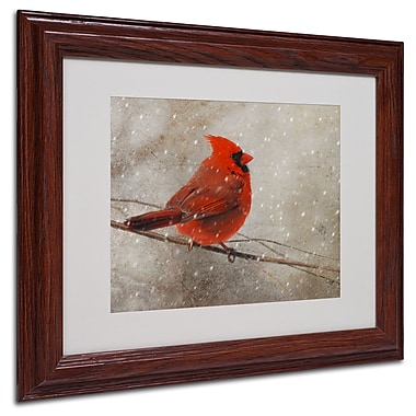 Lois Bryan 'Cardinal In Winter' Matted Framed Art - 16x20 Inches - Wood Frame