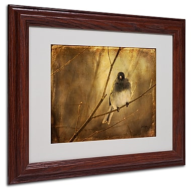 Lois Bryan 'Backlit Birdie Being Buffeted' Matted Framed Art - 16x20 Inches - Wood Frame