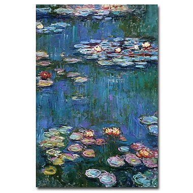Trademark Fine Art Claude Monet, 'Waterlilies Classic' Canvas Art 16x24 Inches