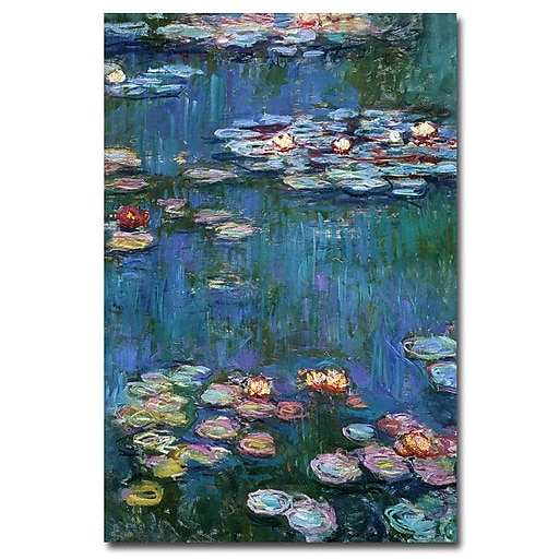 Trademark Fine Art Claude Monet, 'Waterlilies Classic' Canvas Art 22x32 Inches