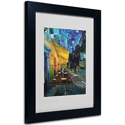Trademark Fine Art Vincent van Gogh 'Cafe Terrace' Matted Art Black Frame 11x14 Inches