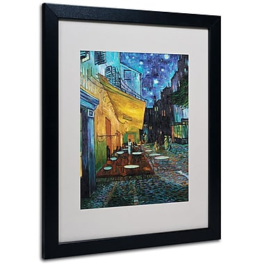Trademark Fine Art Vincent van Gogh 'Cafe Terrace' Matted Art Black Frame 16x20 Inches