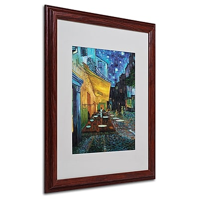 Vincent van Gogh 'Cafe Terrace' Framed Matted Art - 16x20 Inches - Wood Frame