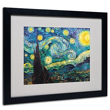 Trademark Fine Art Vincent van Gogh 'Starry Night' Matted Art Black Frame 16x20 Inches