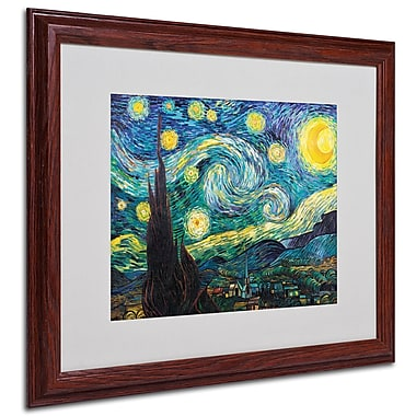 Vincent van Gogh 'Starry Night' Framed Matted Art - 16x20 Inches - Wood Frame