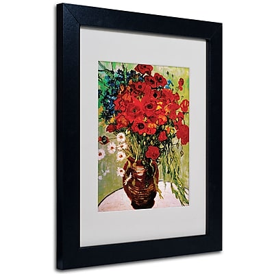 Trademark Fine Art Vincent van Gogh 'Daisies and Poppies' Matted Art Black Frame 11x14 Inches