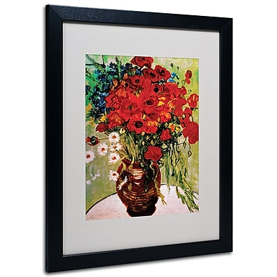 Trademark Fine Art Vincent van Gogh 'Daisies and Poppies' Matted Art Black Frame 16x20 Inches