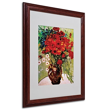 Vincent van Gogh 'Daisies and Poppies' Framed Matted Art - 16x20 Inches - Wood Frame