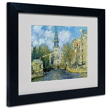 Trademark Fine Art Claude Monet 'The Zuiderkerk at Amsterdam' Matted Art Black Frame 16x20 Inches
