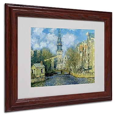 Claude Monet 'The Zuiderkerk at Amsterdam' Framed Matted Art - 16x20 Inches - Wood Frame