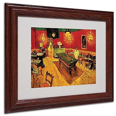 Vincent van Gogh 'Night Cafe' Framed Matted Art - 11x14 Inches - Wood Frame