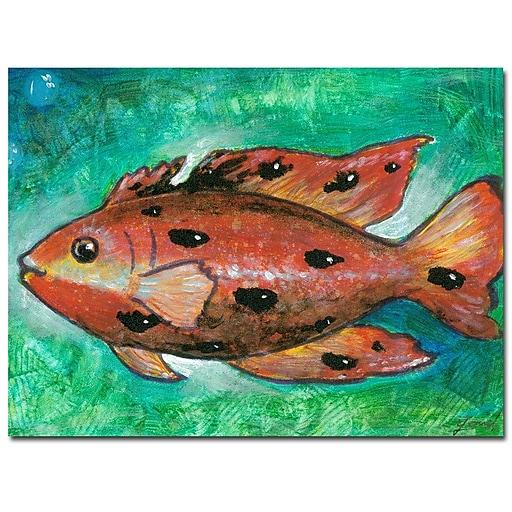 Trademark Fine Art Yonel 'Orange Fish' Canvas Art 24x32 Inches