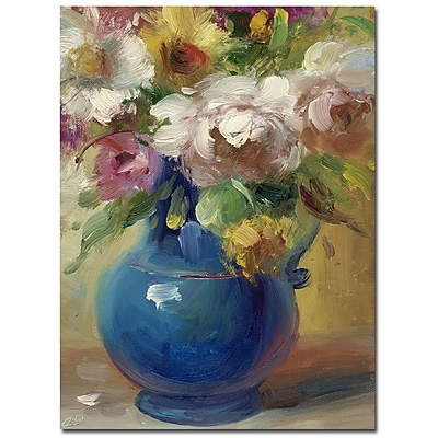 Trademark Fine Art Rio 'Flowers in a Blue Vase' Canvas Art 24x32 Inches