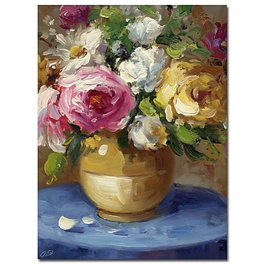 Trademark Fine Art Rio& 'Flowers in a Gold Vase' Canvas Art 24x32 Inches