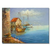 Trademark Fine Art Rio 'Fishing Wharf' Canvas Art 26x32 Inches