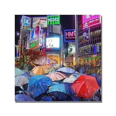 Trademark Fine Art 'Rainy Night in Tokyo' Canvas Art 18x18 Inches