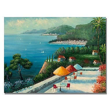 Trademark Fine Art Rio 'Cafe on Lake Como' Canvas Art 22x32 Inches