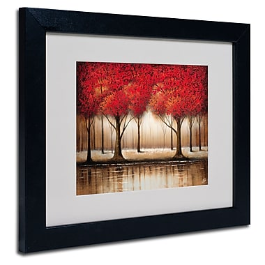 Trademark Fine Art Rio 'Parade of Red Trees' Matted Art Black Frame 11x14 Inches