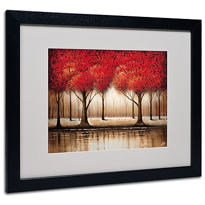 Trademark Fine Art Rio 'Parade of Red Trees' Matted Art Black Frame 16x20 Inches