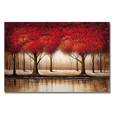 Trademark Fine Art Rio 'Parade of Red Trees' Canvas Art 16x24 Inches