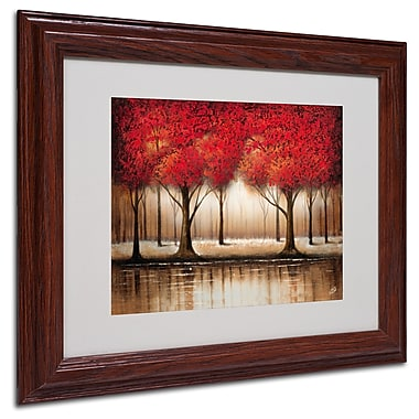 Rio 'Parade of Red Trees' Matted Framed Art - 11x14 Inches - Wood Frame