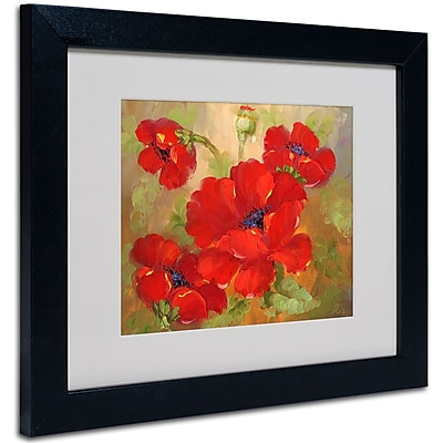 Trademark Fine Art 'Poppies' Matted Art Black Frame 11x14 Inches