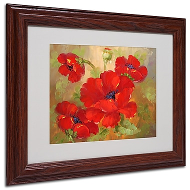 Poppies' Framed Matted Art - 11x14 Inches - Wood Frame