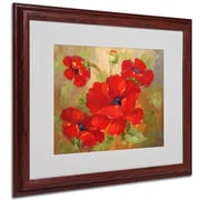 Poppies' Framed Matted Art - 16x20 Inches - Wood Frame