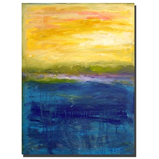 Trademark Fine Art Michelle Calkins 'Gold and Pink Abstract' Canvas Art 18x24 Inches