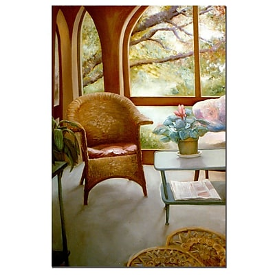 Trademark Fine Art Wicker Chair and Cyclamen by Michelle Calkins-Canvas Art