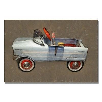 Trademark Fine Art Michelle Calkins 'Tee Bird Pedal Car' Canvas Art 16x24 Inches