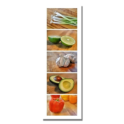 Trademark Fine Art Michelle Calkins 'Vegtables' Canvas Art 8x24 Inches