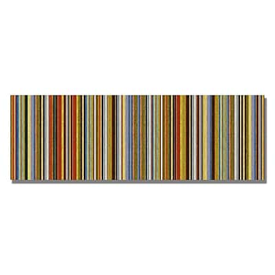Trademark Fine Art Michelle Calkins 'Comfortable Stripes VII' Canvas Art 14x32 Inches