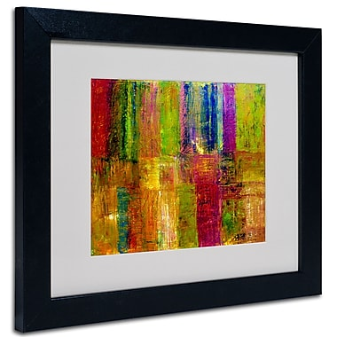 Trademark Fine Art Michelle Calkins 'Color Abstract' Matted Art Black Frame 11x14 Inches