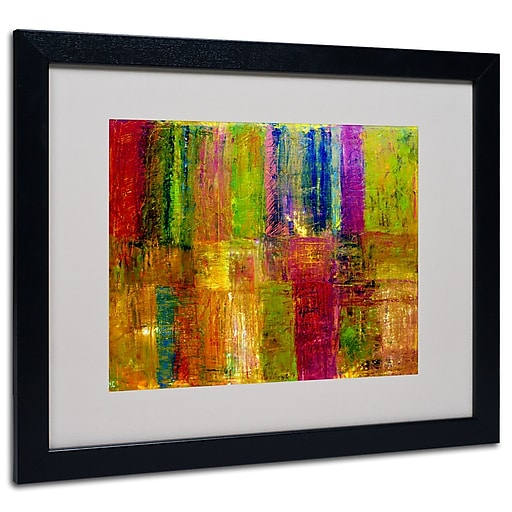 Trademark Fine Art Michelle Calkins 'Color Abstract' Matted Art Black Frame 16x20 Inches