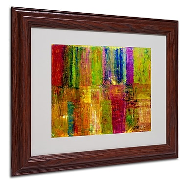 Michelle Calkins 'Color Abstract' Framed Matted Art - 11x14 Inches - Wood Frame