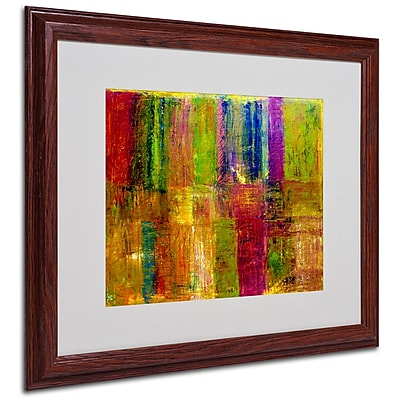 Michelle Calkins 'Color Abstract' Framed Matted Art - 16x20 Inches - Wood Frame