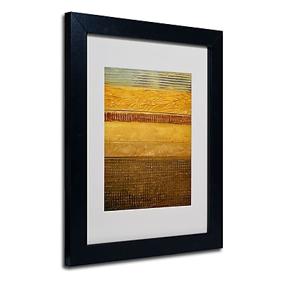 Trademark Fine Art Michelle Calkins 'Earth Layers Abstract' Matted Art Black Frame 11x14 Inches