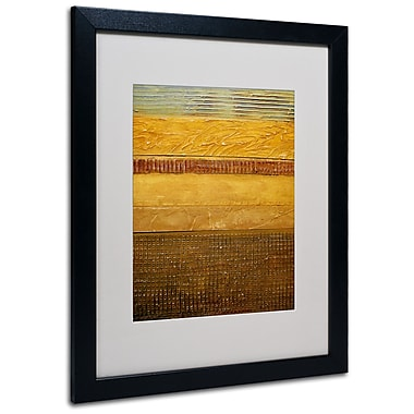 Trademark Fine Art Michelle Calkins 'Earth Layers Abstract' Matted Art Black Frame 16x20 Inches