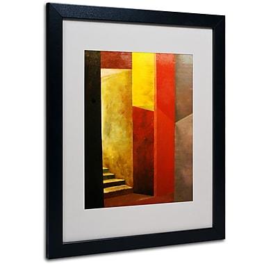 Trademark Fine Art Michelle Calkins 'Mystery Stairwell' Matted Art Black Frame 16x20 Inches