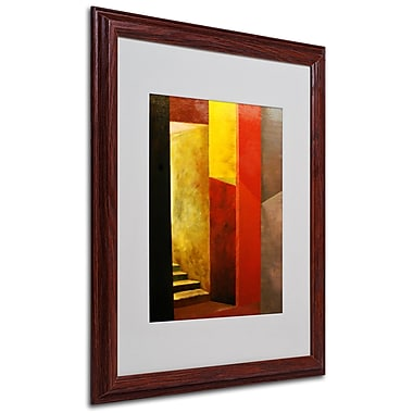 Michelle Calkins 'Mystery Stairwell' Framed Matted Art - 16x20 Inches - Wood Frame