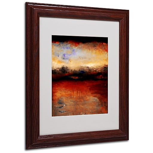 Michelle Calkins 'Red Skies at Night' Matted Framed Art - 11x14 Inches - Wood Frame