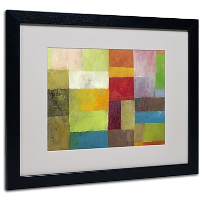 Trademark Fine Art Michelle Calkins 'Abstract Color Panels 4' Matted Art Black Frame 16x20 Inches
