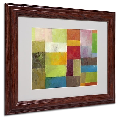 Michelle Calkins 'Abstract Color Panels 4' Matted Framed Art - 11x14 Inches - Wood Frame