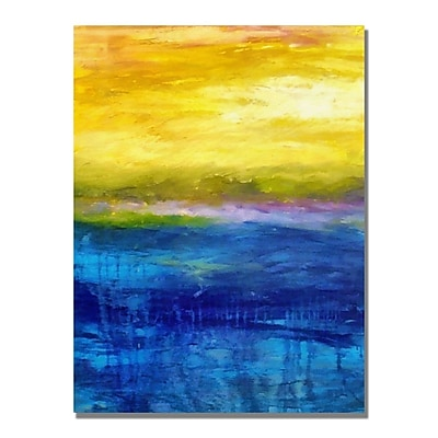 Trademark Fine Art Michelle Calkins 'Gold and Pink Sunset' Canvas Art 18x24 Inches