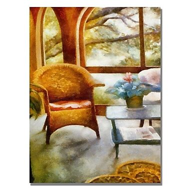 Trademark Fine Art Michelle Calkins 'Wicker Chair and Cyclmen' Canvas Art