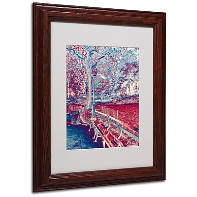 Miguel Paredes 'Red Blue I' Matted Framed Art - 11x14 Inches - Wood Frame