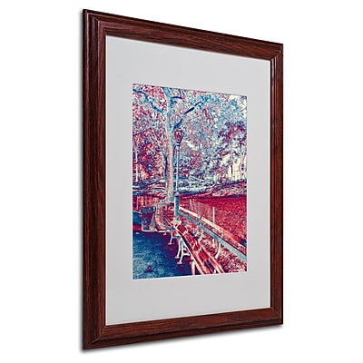 Miguel Paredes 'Red Blue I' Matted Framed Art - 16x20 Inches - Wood Frame